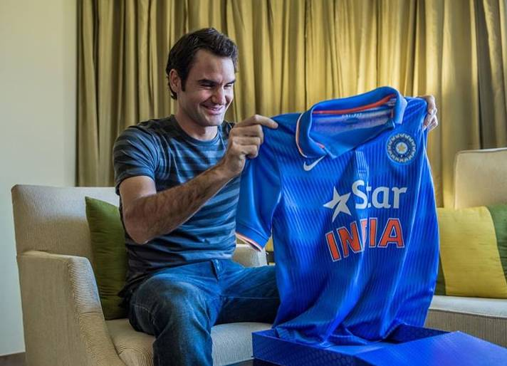 Roger Federer with Indian Jersey