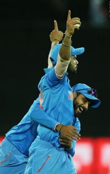 Virat Kohli celebrates in style of Shahid Afridi after taking his catch (Photo Source: BCCI)
