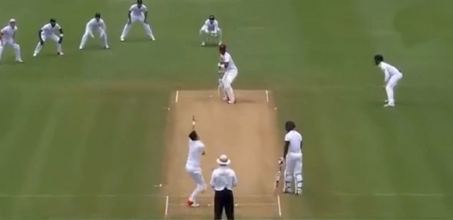 James Anderson bowls the banana in-swinger
