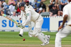 Wellington, NEW ZEALAND: Nathan Astle of New Zealand plays a shot toward the fielder at square leg during day two of the 2nd test of the three test series between New Zealand and the West Indies at the Basin Reserve in Wellington, 18 March 2006. The West Indies scored 192 and New Zealand were at 207/3 in reply at the tea break. AFP PHOTO/Dean TREML (Photo credit should read DEAN TREML/AFP/Getty Images)
