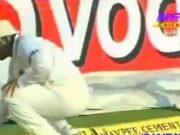 Sehwag kicks the ball to boundary