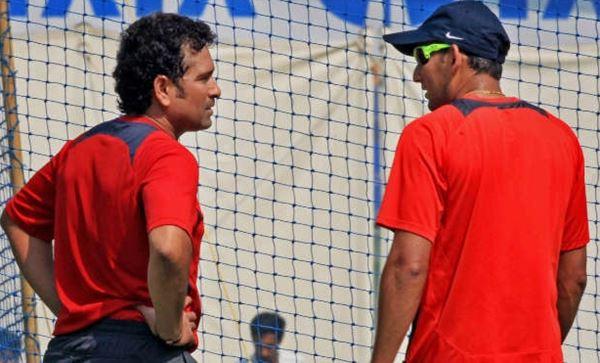 Ajit Agarkar with Sachin Tendulkar