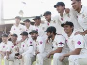 Australia celebrate with the series trophy