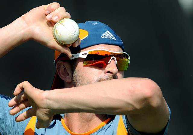Australian spinner Jason Krejza prepares to bowl in the nets during a training session at the Sardar Patel Gujarat Stadium in Ahmedabad on February 20, 2011. Australia are set to face Zimbabwe in a World Cup 2011 match on February 21, 2011. AFP PHOTO/William WEST (Photo credit should read WILLIAM WEST/AFP/Getty Images)