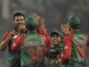 Bangladesh cricket team celebrates the wicket