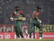 Sabbir Rahman and Shakib Al Hasan run between the wickets