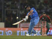 Mahendra Singh Dhoni plays a shot