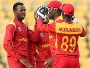 Zimbabwe's Wellington Masakadza celebrates