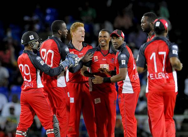 Trinidad and Tobago Red Steel celebrates the dismissal. (Photo by Randy Brooks/LatinContent/Getty Images)