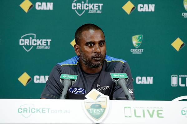 Dimitri Mascarenhas, bowling coach for New Zealand speaks at a press conference after day one of the second Test match between Australia and New Zealand at WACA on November 13, 2015 in Perth, Australia. (Photo by Will Russell - CA/Cricket Australia/Getty Images)