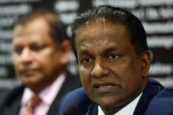 Sri Lanka Cricket President, Thilanga Sumathipala speaks during a press conference in Colombo on July 6, 2016. Sri Lanka's cricket board said it will seek compensation from the World Anti-Doping Agency (WADA) over the wrongful suspension of wicket keeper Kusal Perera. Perera was suspended during Sri Lanka's tour of New Zealand last December after WADA said he had tested positive for a banned substance, a finding the laboratory later revised. / AFP / LAKRUWAN WANNIARACHCHI (Photo credit should read LAKRUWAN WANNIARACHCHI/AFP/Getty Images)