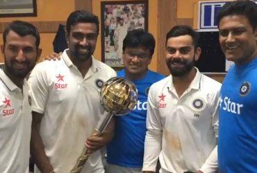 Team India Virat Kohli, Ravichandran Ashwin, Anil Kumble (Photo Source: Twitter)