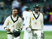 Usman Khawaja and Matt Renshaw of Australia