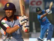 Sachin Tendulkar and Virat Kohli in their 175th ODI