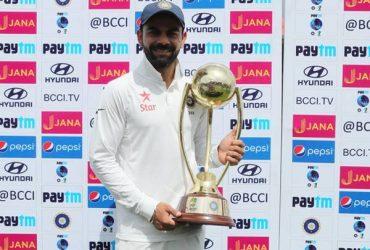 Virat Kohli with the series trophy