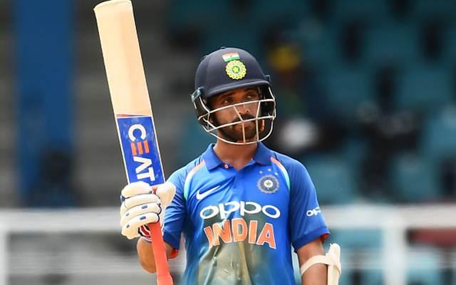 Ajinkya Rahane celebrates after scoring