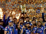 Mumbai Indians celebrate with IPL 2017 trophy trends