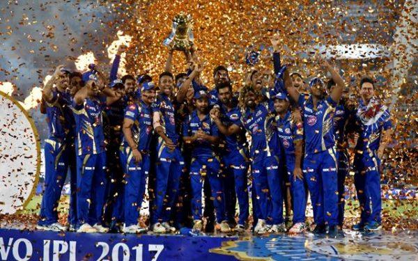 Mumbai Indians celebrate with IPL 2017 trophy IPL 2018