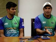 Karaikudi Kaalai captain S Badrinath and c ... in Singh speak to the media in Chennai