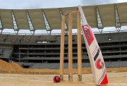 Cricket stumps, bat and ball