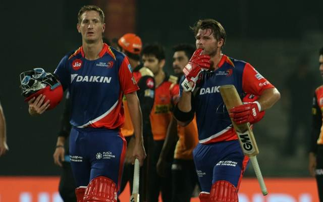 Corey Anderson and Chris Morris of Delhi Daredevils Sunrisers Hyderabad