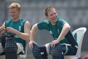 England captain Eoin Morgan and Sam Billings share a joke