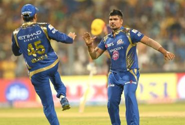 Karn Sharma of Mumbai Indians celebrates fall of a wicket