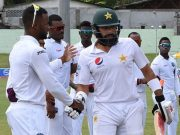 Members of the West Indies team form a guard of honour for captain Misbah-ul-Haq