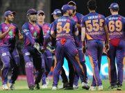 Washington Sundar of Rising Pune Supergiant celebrates fall of Rohit Sharma's wicket