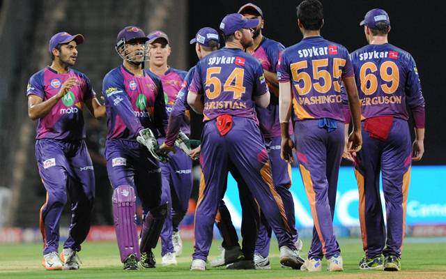 Washington Sundar of Rising Pune Supergiant celebrates fall of Rohit Sharma's wicket