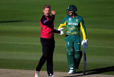 Stiaan van Zyl of Sussex celebrates after taking the wicket of Wayne Parnell of South Africa