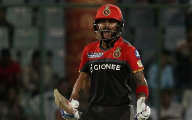 Royal Challengers Bangalore captain Virat Kohli reacts