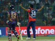 Delhi Daredevils captain Zaheer Khan celebrates wicket of Ajinkya Rahane.