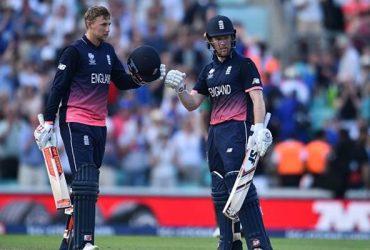 England's Joe Root and Eoin Morgan