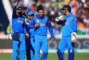 India's Ravindra Jadeja celebrates the wicket of Pakistan batsman