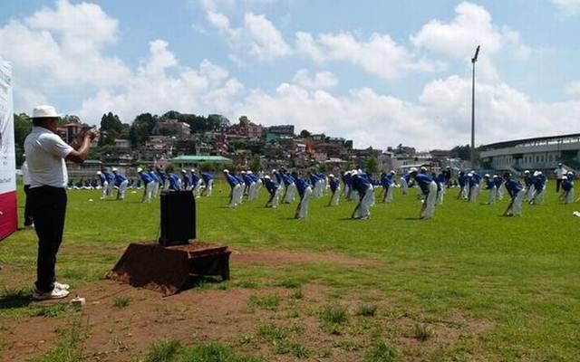 Young group of boys practicing at Shillong Cricket Academy