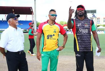 Chris Gayle of St Kitts and Nevis Patriots and Rayad Emrit