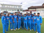 India U19 boys and fielding coach Abhay Sharma pose for a picture after the series win
