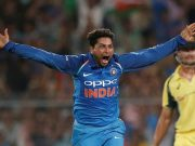 Kuldeep Yadav celebrates his hat-trick