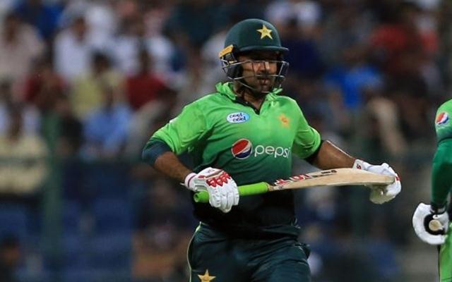 Sarfraz Ahmed takes a run