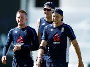 Mason Crane, Craig Overton and Joe Root of England