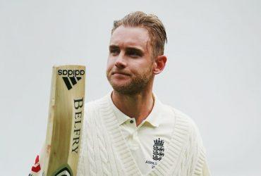Stuart Broad of England walks