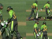 Aamer Yamin and Mohammed Nawaz swap their bats