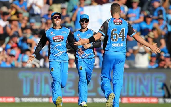 Jake Lehmann and Peter Siddle of the Strikers celebrate the wicket of George Bailey | CricTracker.com