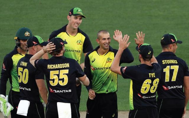 Australia's Ashton Agar celebrates with teammates