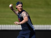 England player Ben Stokes looks on in the nets during an England training session