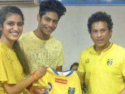 Priya Varrier with Sachin Tendulkar
