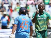 Kagiso Rabada dismisses Rohit Sharma South Africa