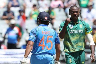 Kagiso Rabada dismisses Rohit Sharma South Africa