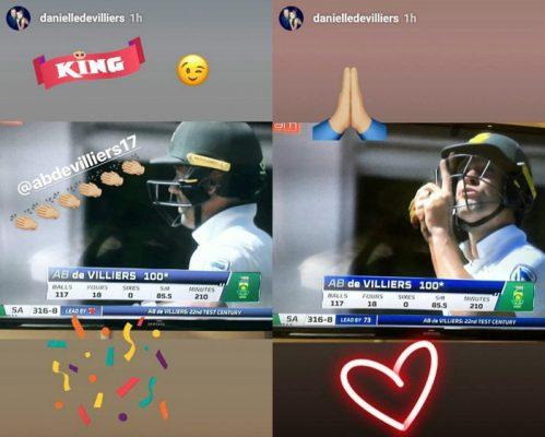 Danielle de Villiers' two Instagram stories